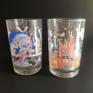 Vintage Walt Disney 25th anniversary glass cups